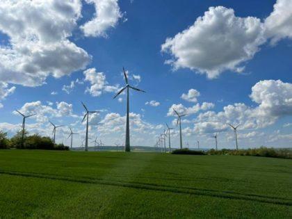 Windräder auf einer grünen Wiese mit blauem, leicht bedecktem Himmel